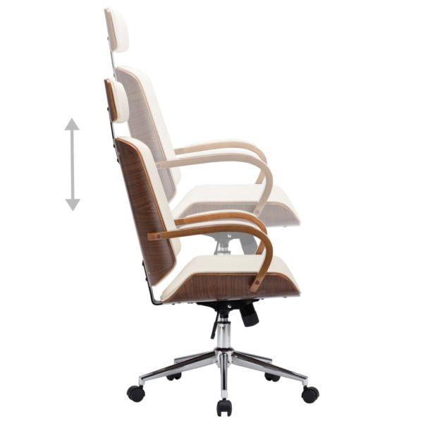 Drehbarer Bürostuhl mit Kopfstütze Creme Kunstleder Bugholz