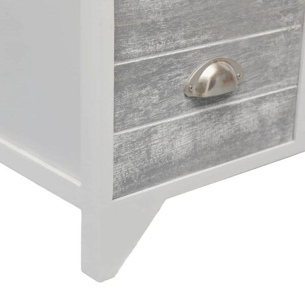 Beistellschrank mit 6 Schubladen Grau 60x30x75cm Paulownia Holz