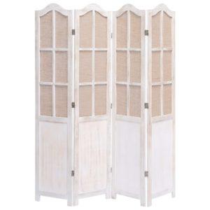 4-teiliger Raumteiler Weiß 140 x 165 cm Stoff