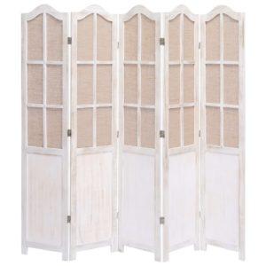 5-teiliger Raumteiler Weiß 175 x 165 cm Stoff