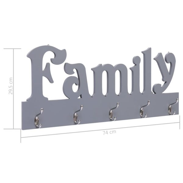Wandgarderobe FAMILY Grau 74 x 29,5 cm