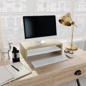 Monitorständer Weiß Sonoma-Eiche 42×24×13 cm Spanplatte