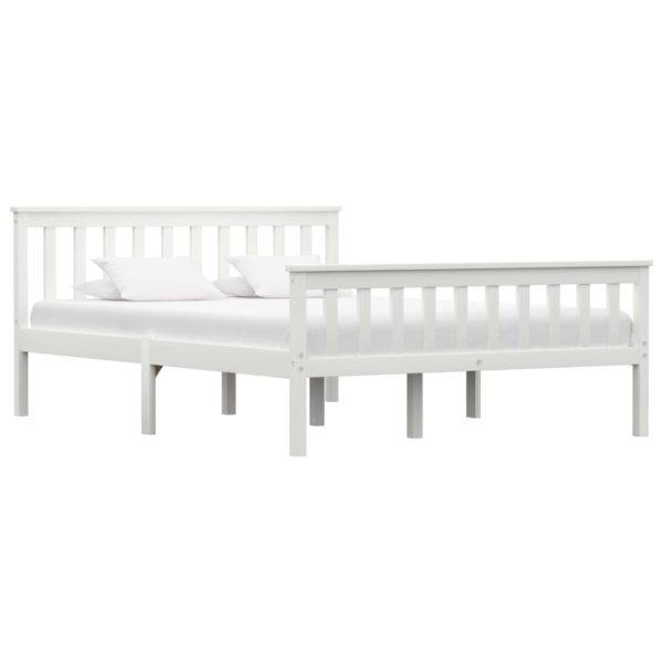 Bettgestell Weiß Massivholz Kiefer 140×200 cm