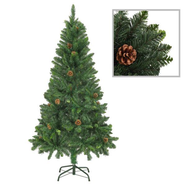 Künstlicher Weihnachtsbaum mit Kiefernzapfen Grün 150 cm
