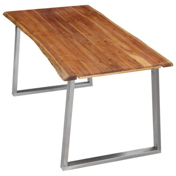 Esstisch 160×80×75 cm Akazie Massivholz und Edelstahl