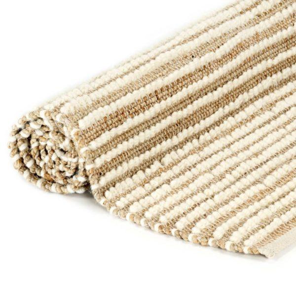 Teppich Hanf Wolle 80×150 cm Natur/Weiß