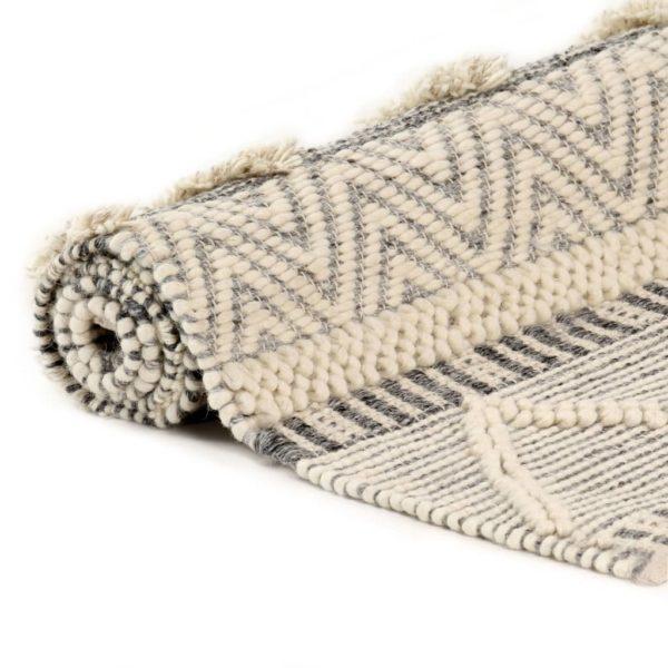 Teppich Handgewebt Wolle 80×150 cm Weiß/Grau/Schwarz/Braun