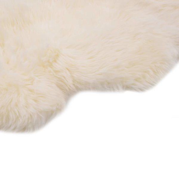 Schaffell-Teppich 60×90 cm Weiß