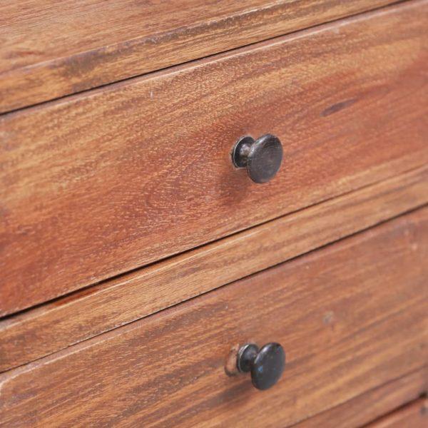 Nachttisch mit 3 Schubladen 35×25×35 cm Recyceltes Massivholz