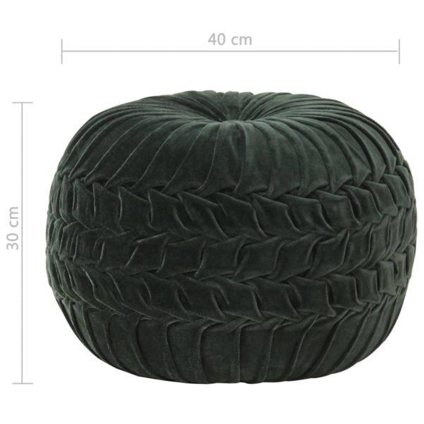 Pouf Baumwollsamt Kittel-Design 40×30 cm Grün