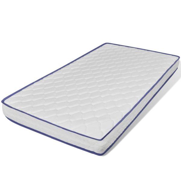 Bett mit Memory-Schaum-Matratze Beige Stoff 90×200 cm