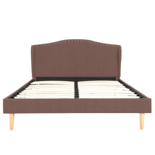 Bett mit Memory-Schaum-Matratze Braun Stoff 120×200 cm