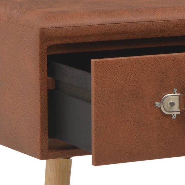 Bank mit Schubladen 80 cm Braun Kunstleder
