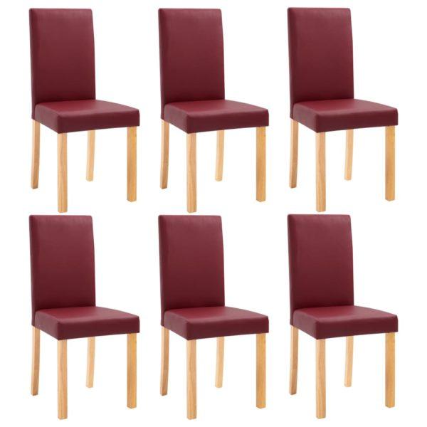 Esszimmerstühle 6 Stk. Rot Kunstleder