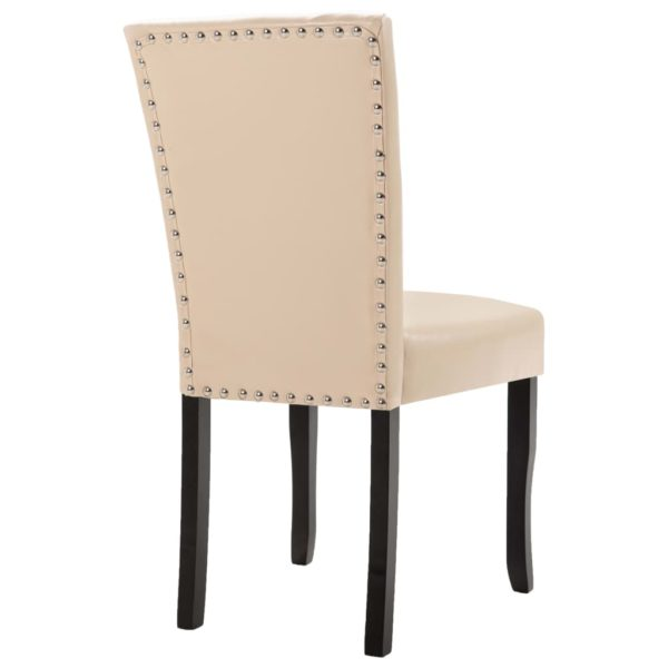 Esszimmerstühle 4 Stk. Creme Kunstleder