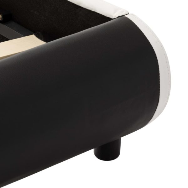 Bettgestell mit LED Schwarz Kunstleder 160×200 cm