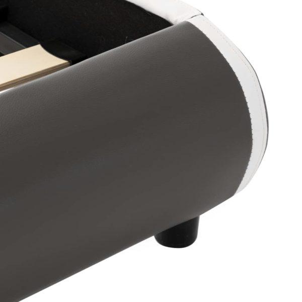 Bettgestell mit LED Anthrazit Kunstleder 90×200 cm