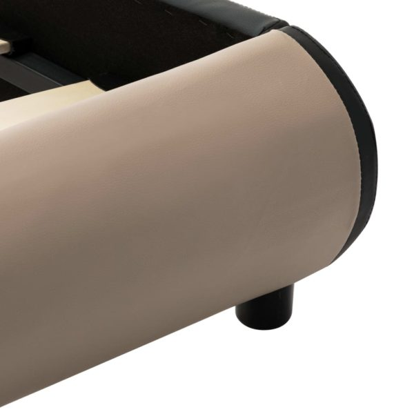 Bettgestell mit LED Cappuccino-Braun Kunstleder 90 x 200 cm