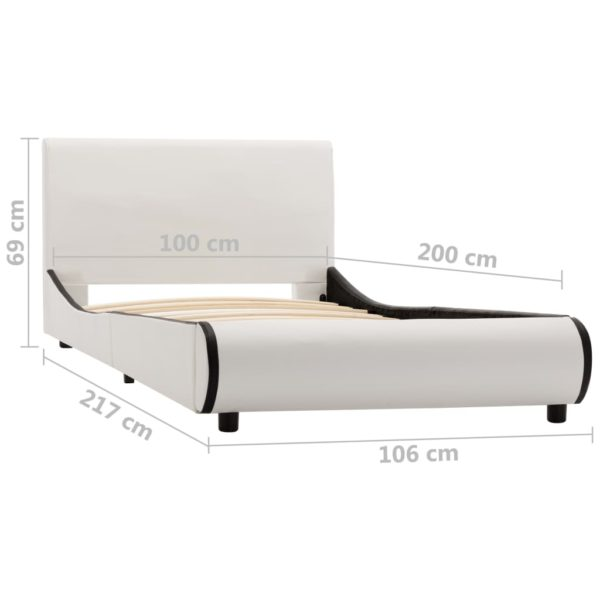 Bettgestell Weiß Kunstleder 100 x 200 cm