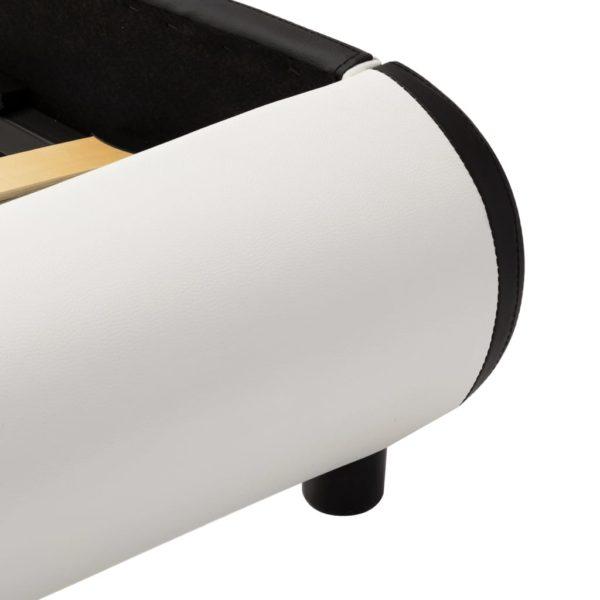 Bettgestell Weiß Kunstleder 140×200 cm