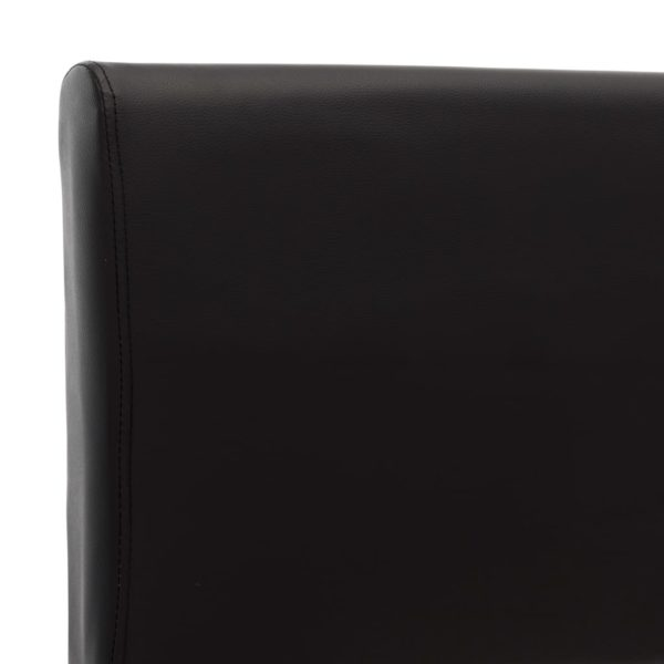 Bettgestell Schwarz Kunstleder 140×200 cm