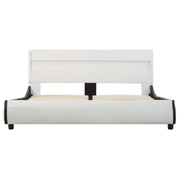 Bettgestell mit LED Weiß Kunstleder 160×200 cm