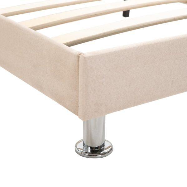 Bett mit Matratze Beige Stoff 140 x 200 cm