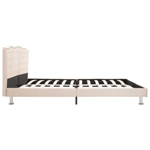 Bett mit Matratze Beige Stoff 160 x 200 cm
