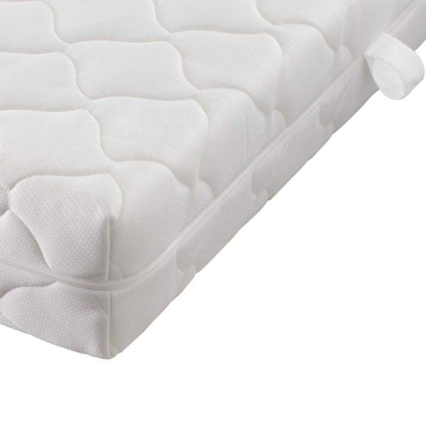 Bett mit Matratze Hellgrau Stoff 140 x 200 cm
