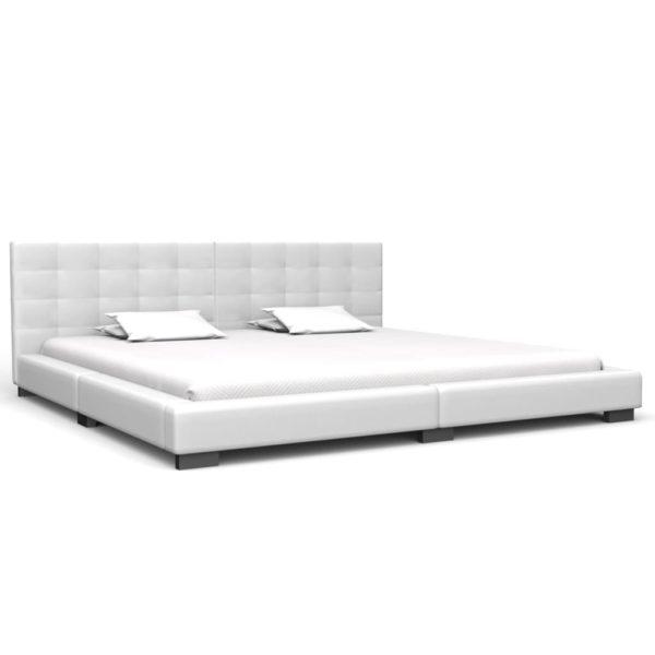 Bett mit Matratze Weiß Kunstleder 180 x 200 cm