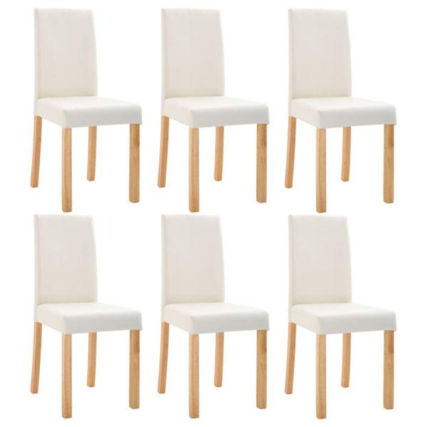 Esszimmerstühle 6 Stk. Cremeweiß Kunstleder