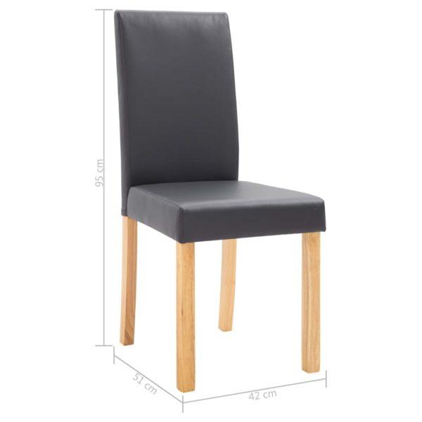 Esszimmerstühle 6 Stk. Grau Kunstleder