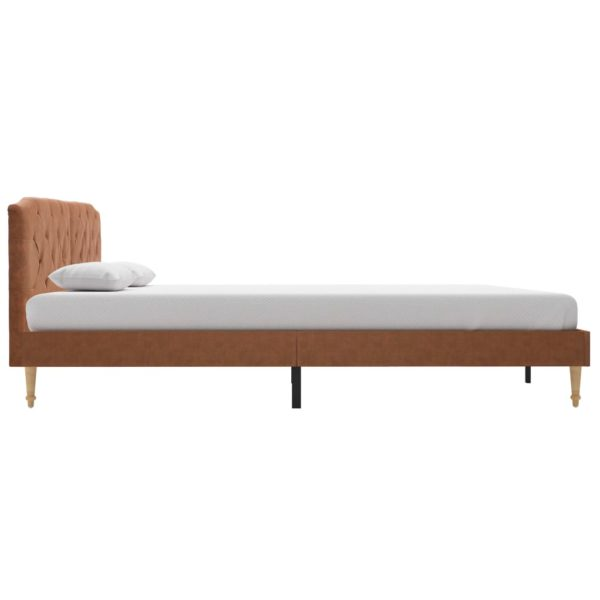 Bett mit Memory-Schaum-Matratze Braun Stoff 160×200 cm