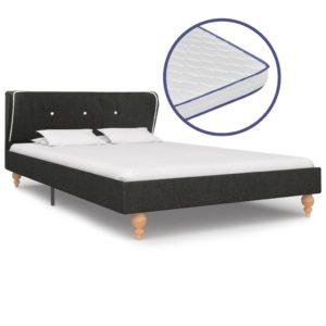 Bett mit Memory-Schaum-Matratze Dunkelgrau Sackleinen 120×200cm