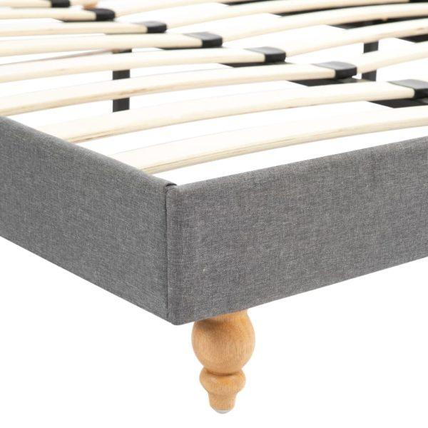 Bett mit Memory-Schaum-Matratze Hellgrau Stoff 120×200 cm