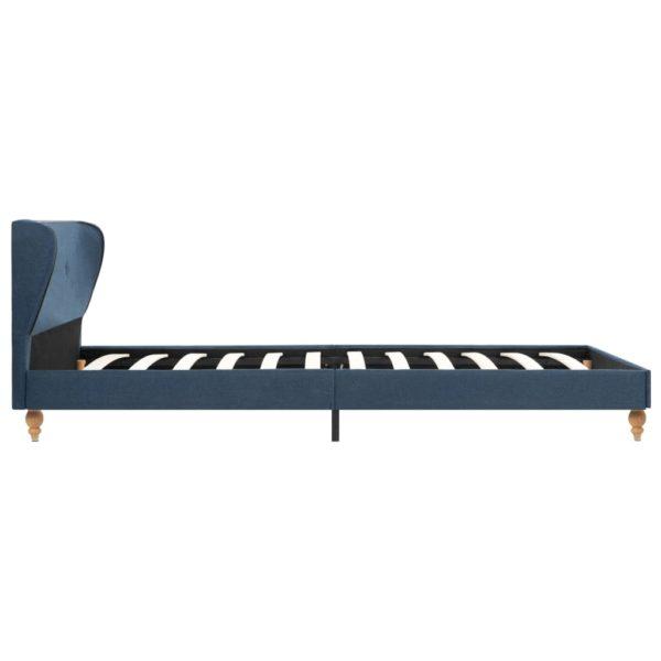 Bett mit Memory-Schaum-Matratze Blau Stoff 90 x 200 cm