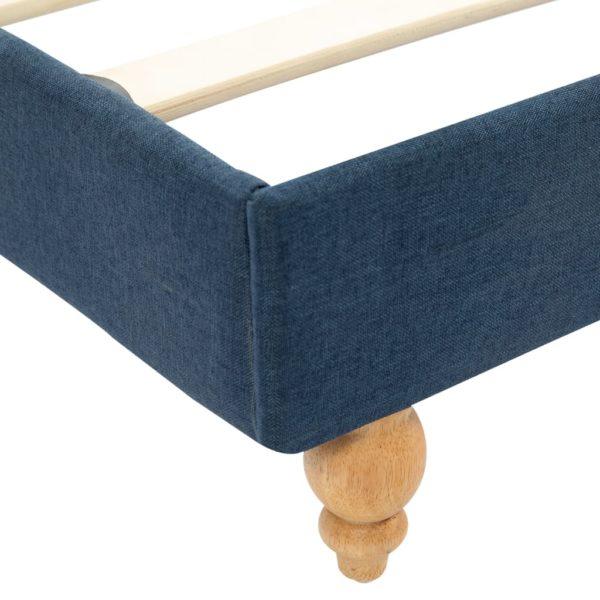 Bett mit Memory-Schaum-Matratze Blau Stoff 120×200 cm