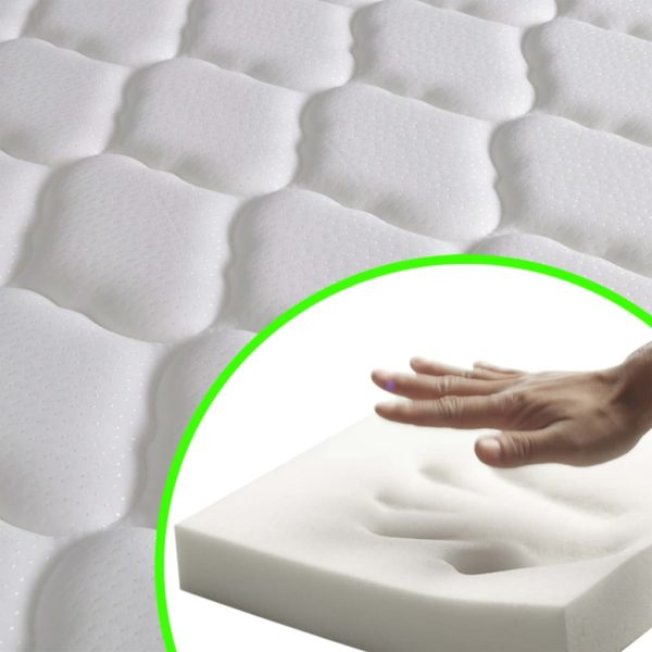 Bett mit Memory-Schaum-Matratze Grün Stoff 120×200 cm