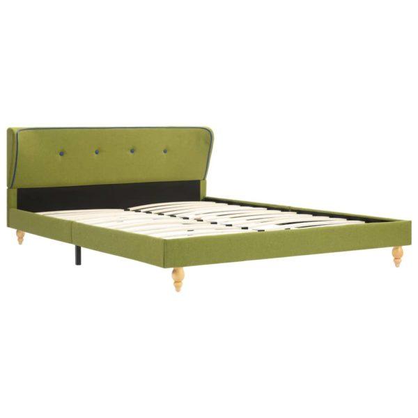 Bett mit Memory-Schaum-Matratze Grün Stoff 140×200 cm