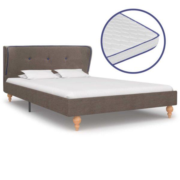 Bett mit Memory-Schaum-Matratze Taupe Stoff 120×200 cm