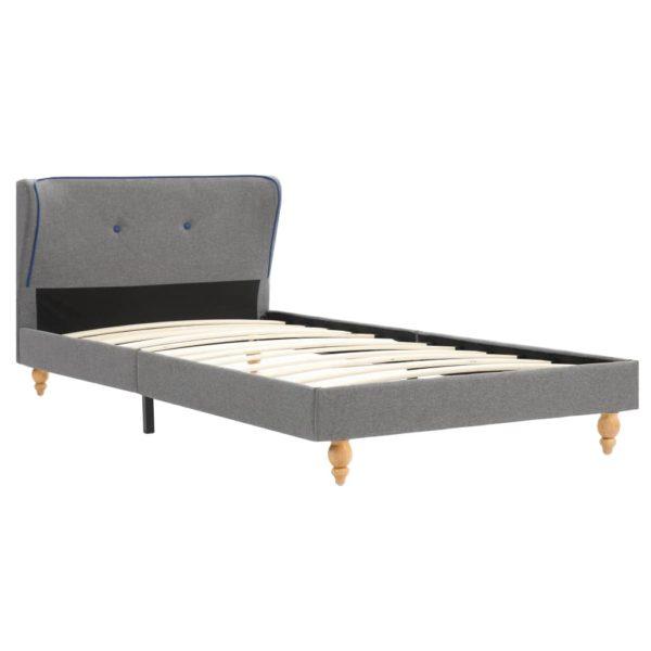 Bett mit Matratze Hellgrau Stoff 90 x 200 cm