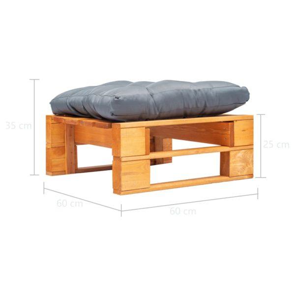 Garten-Palettenhocker mit Grauem Kissen Holz Honigbraun