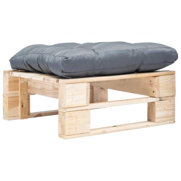 Garten-Palettenhocker mit Grauem Kissen Holz Natur