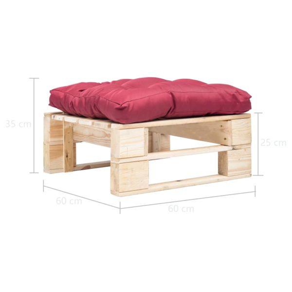 Garten-Palettenhocker mit Rotem Kissen Holz Natur