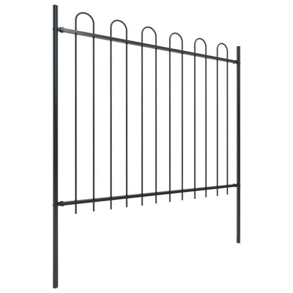 Gartenzaun mit Bügel-Design Stahl 8,5 x 1,5 m Schwarz