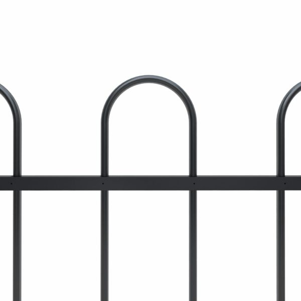 Gartenzaun mit Bügel-Design Stahl 10,2 x 1,5 m Schwarz