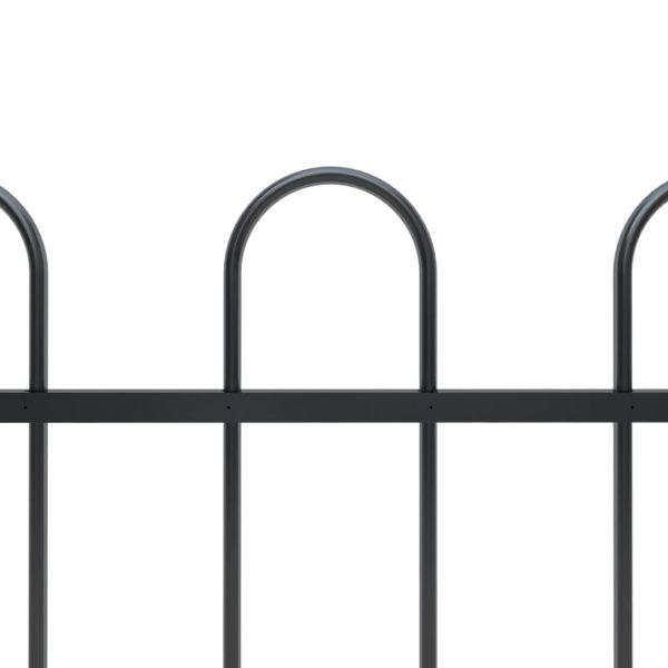 Gartenzaun mit Bügel-Design Stahl 11,9 x 1,5 m Schwarz