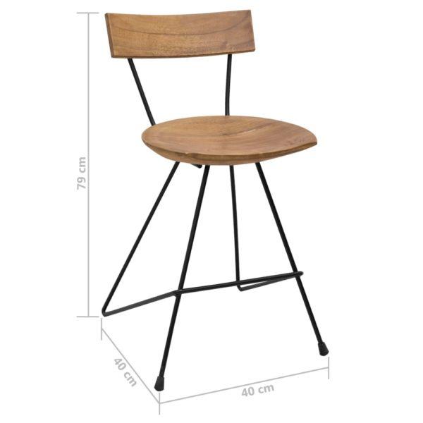 Esszimmerstühle 2 Stk. Teak Massivholz