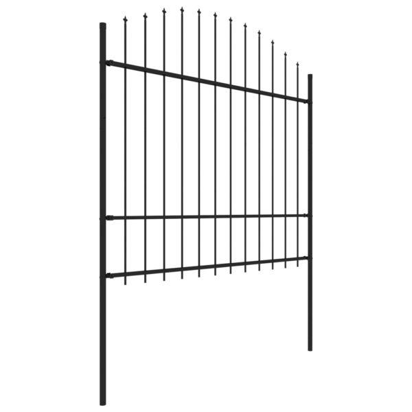 Gartenzaun mit Speerspitzen Stahl (1,5 – 1,75) x 10,2 m Schwarz