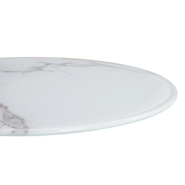 Tischplatte Weiß Ø40 cm Glas in Marmoroptik